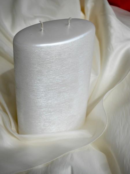 Kerze Oval mit 2 Dochten, perlmutt weiß gebürstet