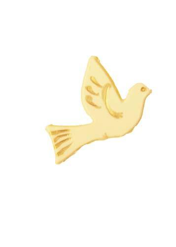 Taube weiß/gold 3 cm, 1 Stück