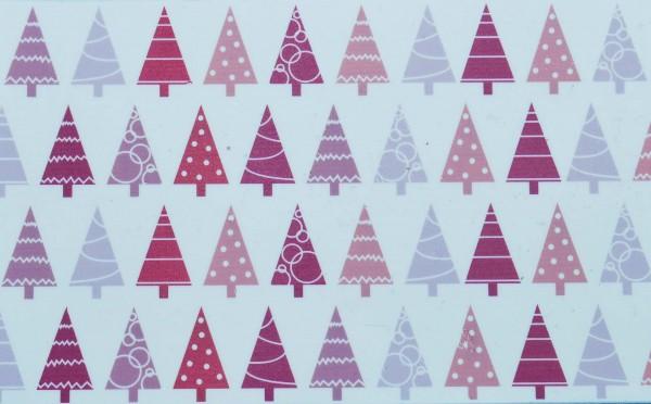 Wachsplatte bedruckt Weihnachtsbäume pink/lila