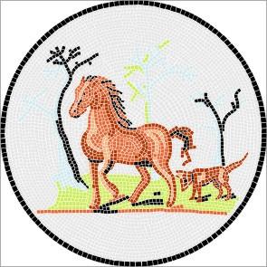 Mosaik Vorlagen - Pferd antik l ∅ 50cm
