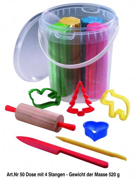 Plastilin Kneteimer 500 g, 4 Farben je 125 g, Zubehör