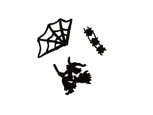 Spinnennetz 3,5 cm 1 Stück, Spinnen 1,5 cm 3 Stück, Hexe 5 cm 1 Stück, Halloween
