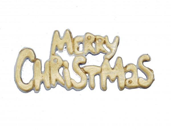 """Wachsverzierung Schriftzug """"Merry Christmas"""" gold"""