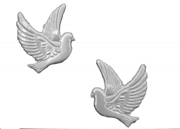 Wachsmotiv Taubenpaar in perlmutt