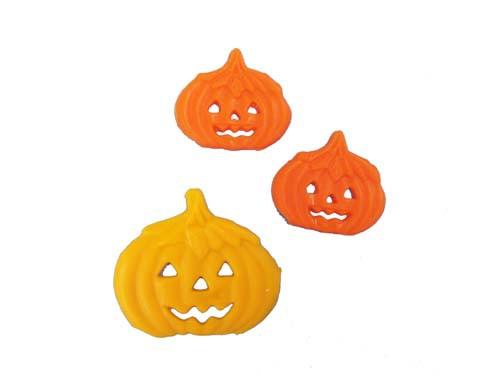 Kürbis gelb 4 cm 1 Stück, Kürbis orange 2,5 cm 2 Stück Halloween