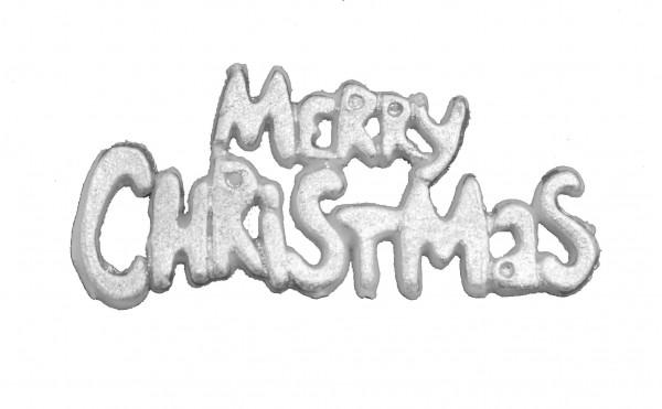 """Wachsverzierung Schriftzug """"Merry Christmas"""" silber"""