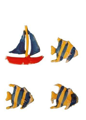 Fische 3 Stück gelb und blau 1,5 cm, Schiff 1 Stück 3 cm