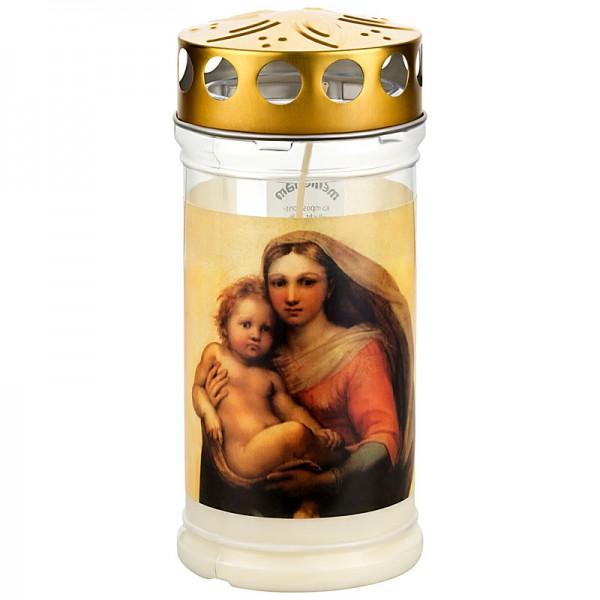 Grabkerze Madonna, mit Golddeckel, ca. 4 Tage Brenndauer