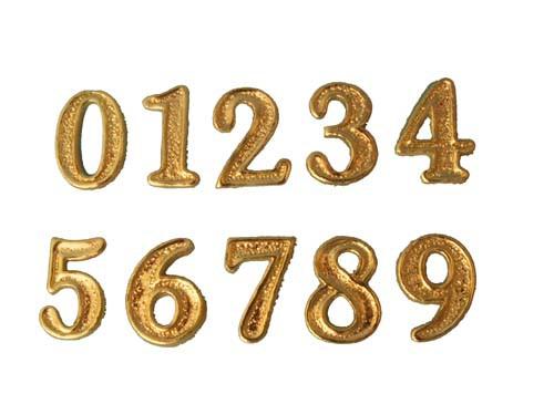 Wachsverzierzahlen gold glänzend 25 mm