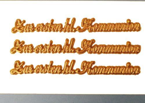 """Wachsschriftzug """"Zur ersten hl. Kommunion"""" 9 cm"""