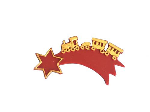 Komet mit Zug bordeaux/gold 8,5 cm