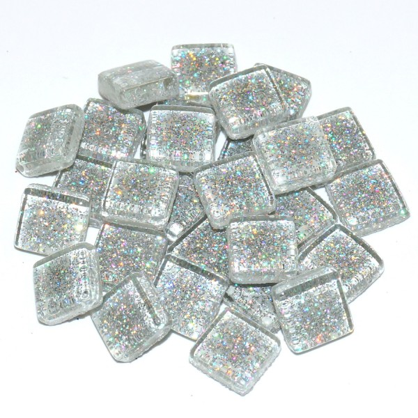 Soft Glas Mosaik Silber-Glitter