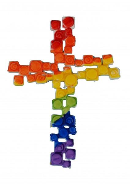 Kreuz Mosaik Regenbogen 11 cm