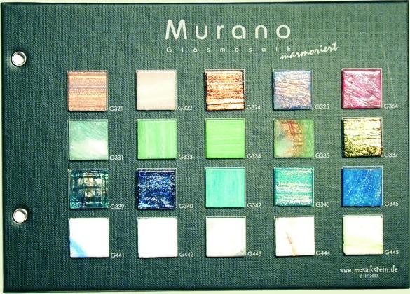 Mustertafel Murano Glas marmoriert