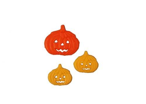 Kürbis orange 4 cm 1 Stück, Kürbis gelb 2,5 cm 2 Stück Halloween
