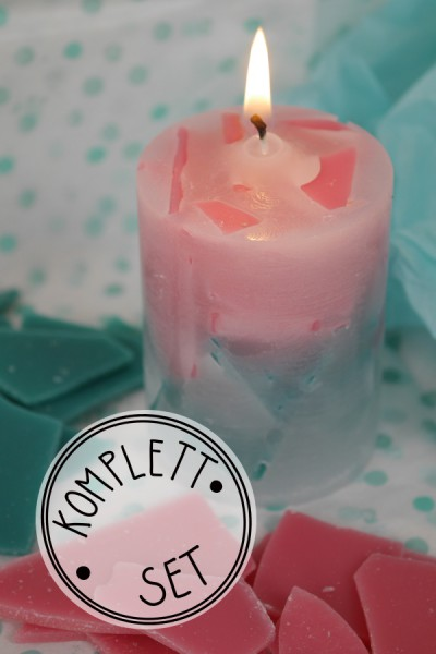 Komplettset: Candle Crunch rosa/türkis