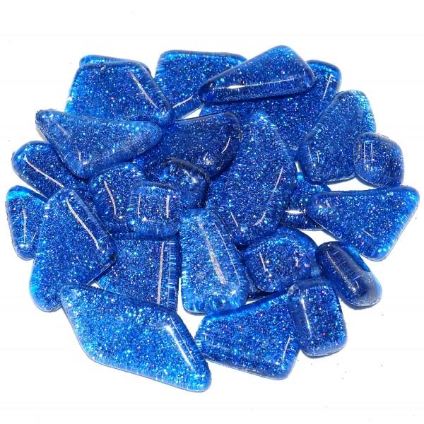 Soft Glas polygonal Blau-Glitter